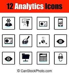 analytics, icono, conjunto