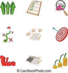 Analytics icons set, cartoon style