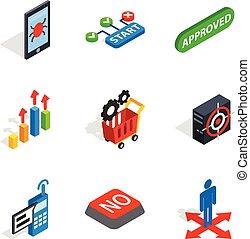 Analytics icons set, isometric style - Analytics icons set....