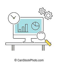 analytics, lijn, iconen, plat