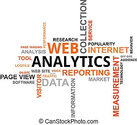 analytics, -, nube, palabra, tela