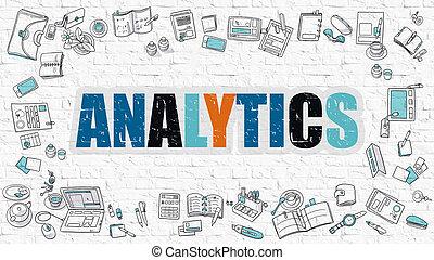 Analytics on White Brick Wall.