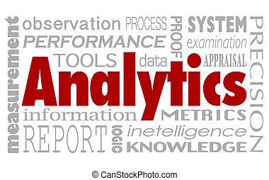 analytics, palabras, collage, plano de fondo, rendimiento, medida, metri