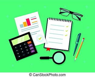 Analytics planning things data on table top view, audit evaluation process, financial research report with graphs, analyzing, survey or checklist on notebook vector illustration flat cartoon style