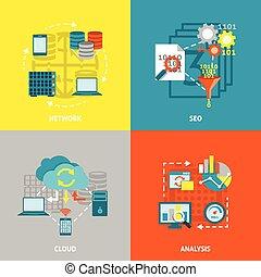 analytics, plein, databank, plat, iconen