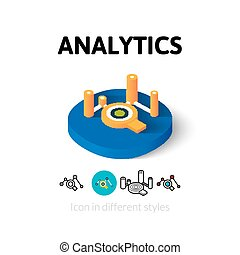 analytics, różny, styl, ikona