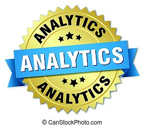 analytics round isolated gold badge