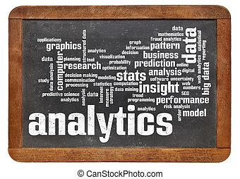 analytics, słowo, chmura, tablica