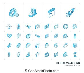 analytics, seo, デジタル, 市場, icons., ベクトル, 線, 3d, 等大