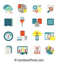analytics, set, databank, plat, iconen