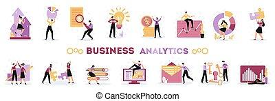 analytics, set, plat, zakelijk