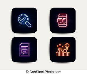 Analytics, Smartphone notification and Comments icons. Roller coaster sign. Vector
