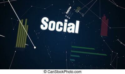 Analytics, Social, Storage, Cloud, Networking, Text animation 'BIG DATA'