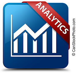 Analytics (statistics icon) blue square button red ribbon in corner
