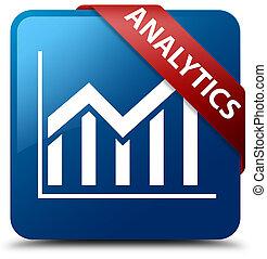 Analytics (statistics icon) blue square button red ribbon in corner