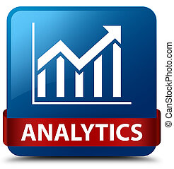 Analytics (statistics icon) blue square button red ribbon in middle