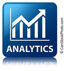 Analytics (statistics icon) blue square button