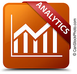 Analytics (statistics icon) brown square button red ribbon in corner
