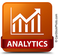 Analytics (statistics icon) brown square button red ribbon in middle