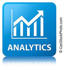 Analytics (statistics icon) cyan blue square button