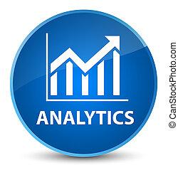 Analytics (statistics icon) elegant blue round button