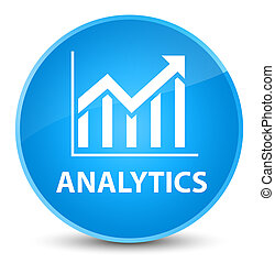 Analytics (statistics icon) elegant cyan blue round button