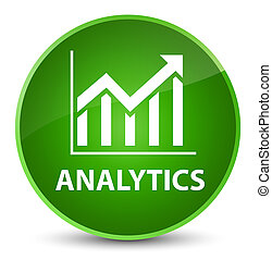 Analytics (statistics icon) elegant green round button