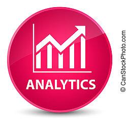 Analytics (statistics icon) elegant pink round button