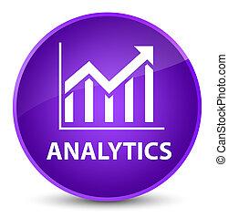 Analytics (statistics icon) elegant purple round button