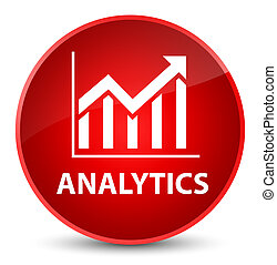 Analytics (statistics icon) elegant red round button