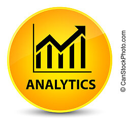Analytics (statistics icon) elegant yellow round button