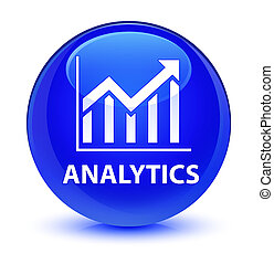 Analytics (statistics icon) glassy blue round button