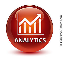 Analytics (statistics icon) glassy brown round button