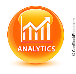 Analytics (statistics icon) glassy orange round button