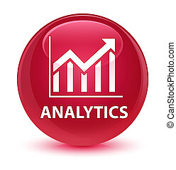 Analytics (statistics icon) glassy pink round button