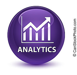 Analytics (statistics icon) glassy purple round button