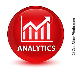 Analytics (statistics icon) glassy red round button