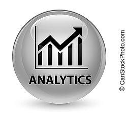 Analytics (statistics icon) glassy white round button