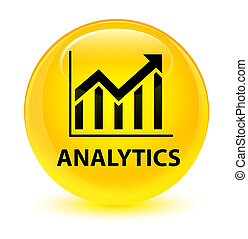 Analytics (statistics icon) glassy yellow round button