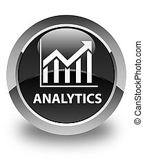 Analytics (statistics icon) glossy black round button