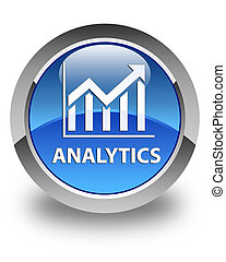 Analytics (statistics icon) glossy blue round button