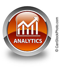 Analytics (statistics icon) glossy brown round button