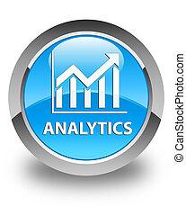 Analytics (statistics icon) glossy cyan blue round button