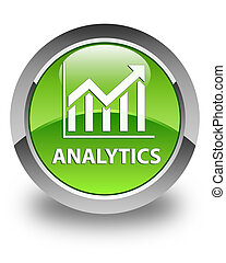 Analytics (statistics icon) glossy green round button