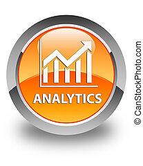 Analytics (statistics icon) glossy orange round button