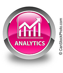 Analytics (statistics icon) glossy pink round button