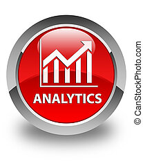 Analytics (statistics icon) glossy red round button