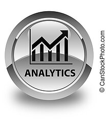 Analytics (statistics icon) glossy white round button