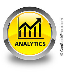 Analytics (statistics icon) glossy yellow round button