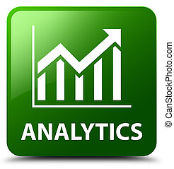Analytics (statistics icon) green square button
